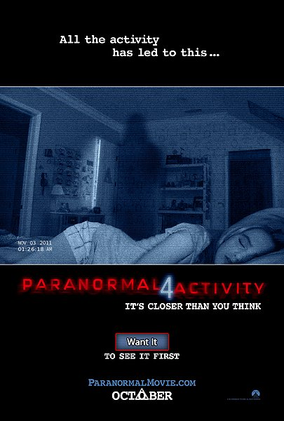 Paranormal Activity 4 movie poster
