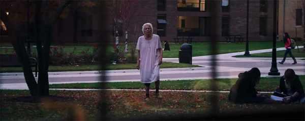 it follows old lady walking