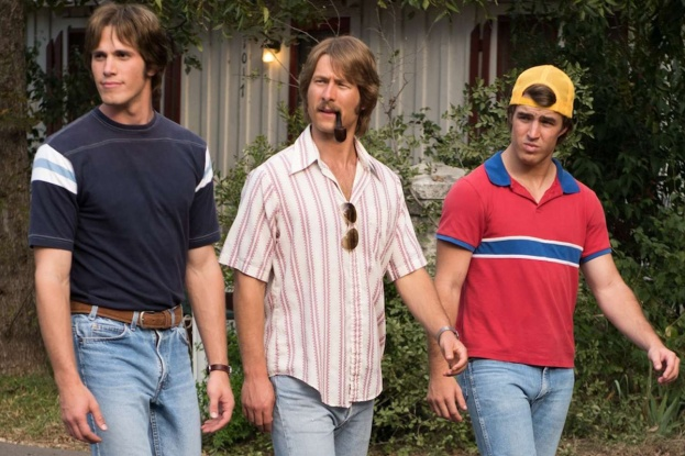 """EVERYBODY WANTS SOME!!"": Blake Jenner plays Jake, Glen Powell plays Finnegan, Temple Baker plays Plummer and Forrest Vickery plays Coma. (Photo: Van Redin / Paramount Pictures)"